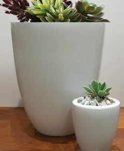 tall round white gloss pot